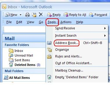 change to personal address book in outlook from global address book